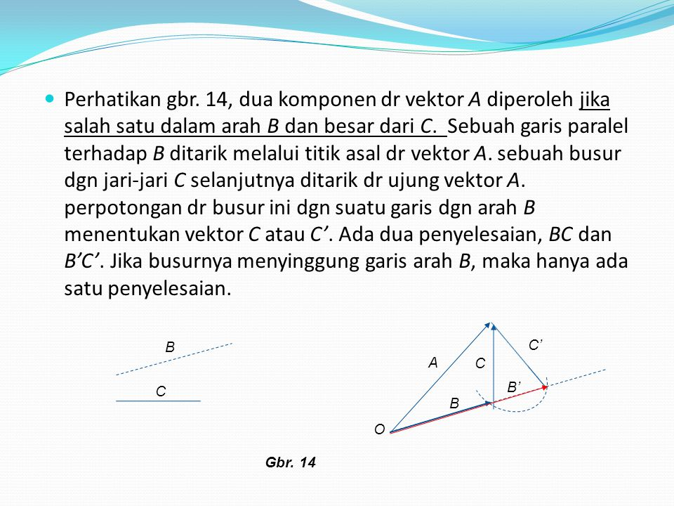 Perhatikan gbr. 14, dua komponen dr vektor A diperoleh jika salah satu dalam arah B dan besar dari C. Sebuah garis paralel terhadap B ditarik melalui
