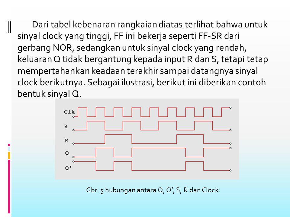 Dari tabel kebenaran rangkaian diatas terlihat bahwa untuk sinyal clock yang tinggi, FF ini bekerja seperti FF-SR dari gerbang NOR, sedangkan untuk sinyal clock yang rendah, keluaran Q tidak bergantung kepada input R dan S, tetapi tetap mempertahankan keadaan terakhir sampai datangnya sinyal clock berikutnya.