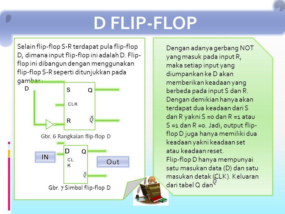 D FLIP-FLOP Selain flip-flop S-R terdapat pula flip-flop D, dimana input flip-flop ini adalah D.
