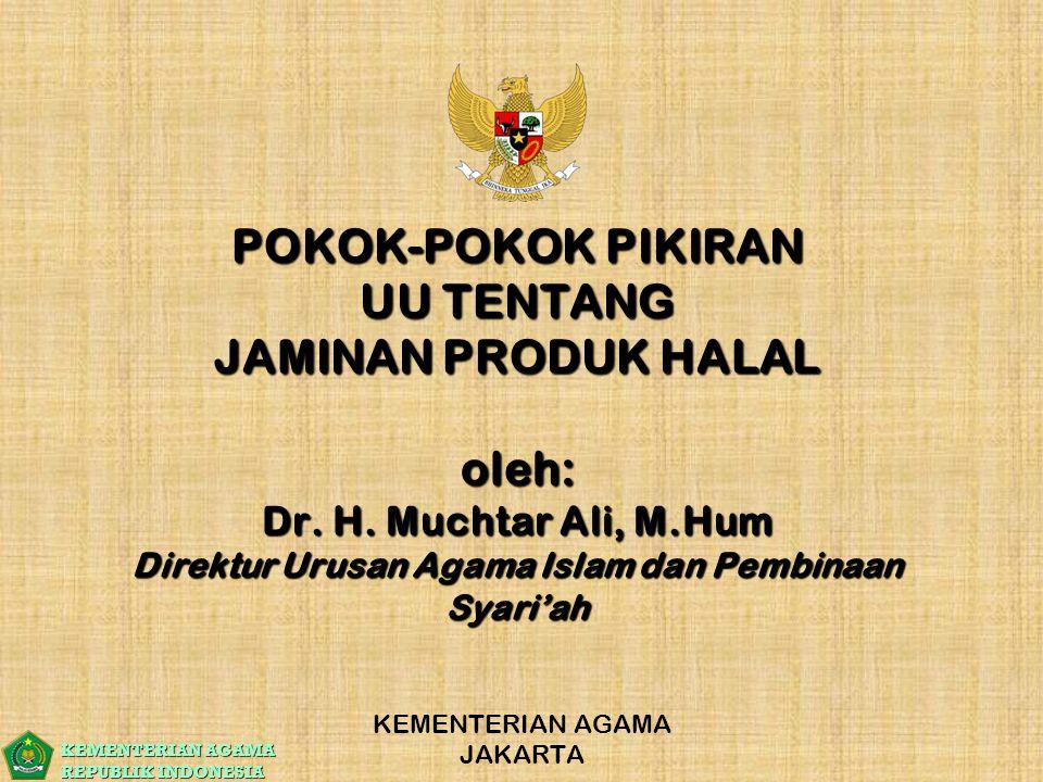 KEMENTERIAN AGAMA REPUBLIK INDONESIA POKOK-POKOK PIKIRAN UU TENTANG JAMINAN PRODUK HALAL oleh: Dr. H. Muchtar Ali, M.Hum Direktur Urusan Agama Islam d