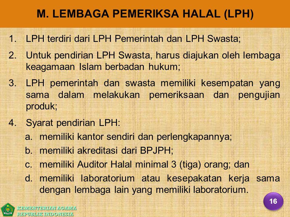 KEMENTERIAN AGAMA REPUBLIK INDONESIA M. LEMBAGA PEMERIKSA HALAL (LPH) 1. 1.LPH terdiri dari LPH Pemerintah dan LPH Swasta; 2. 2.Untuk pendirian LPH Sw