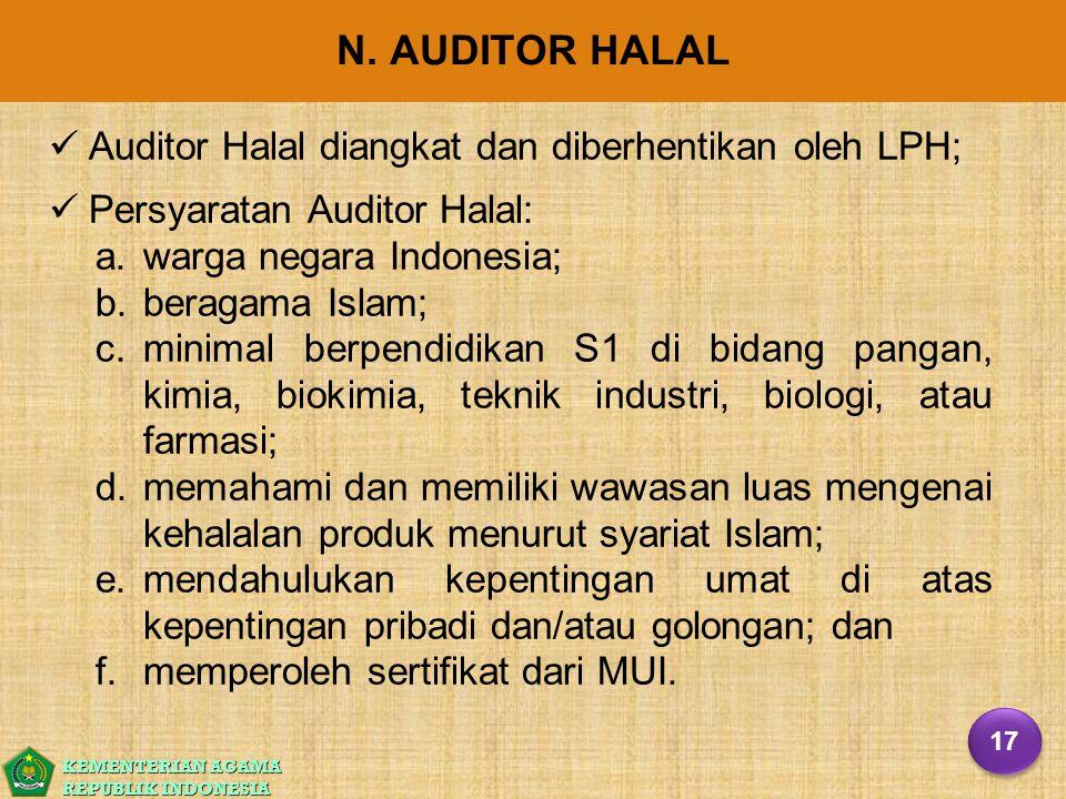 KEMENTERIAN AGAMA REPUBLIK INDONESIA N. AUDITOR HALAL Auditor Halal diangkat dan diberhentikan oleh LPH; Persyaratan Auditor Halal: a. a.warga negara