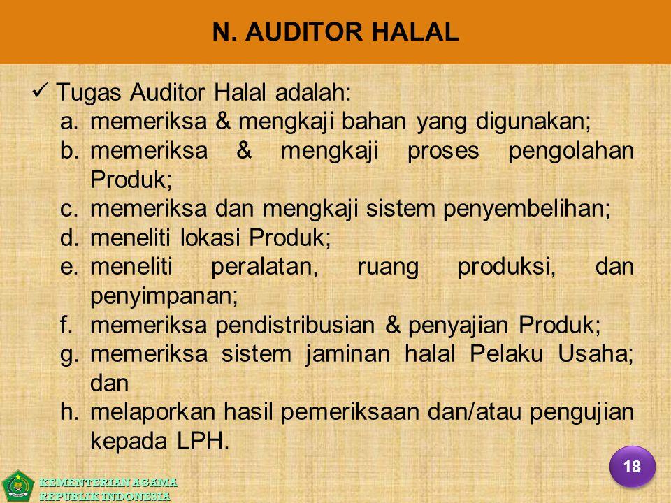 KEMENTERIAN AGAMA REPUBLIK INDONESIA N. AUDITOR HALAL Tugas Auditor Halal adalah: a. a.memeriksa & mengkaji bahan yang digunakan; b. b.memeriksa & men