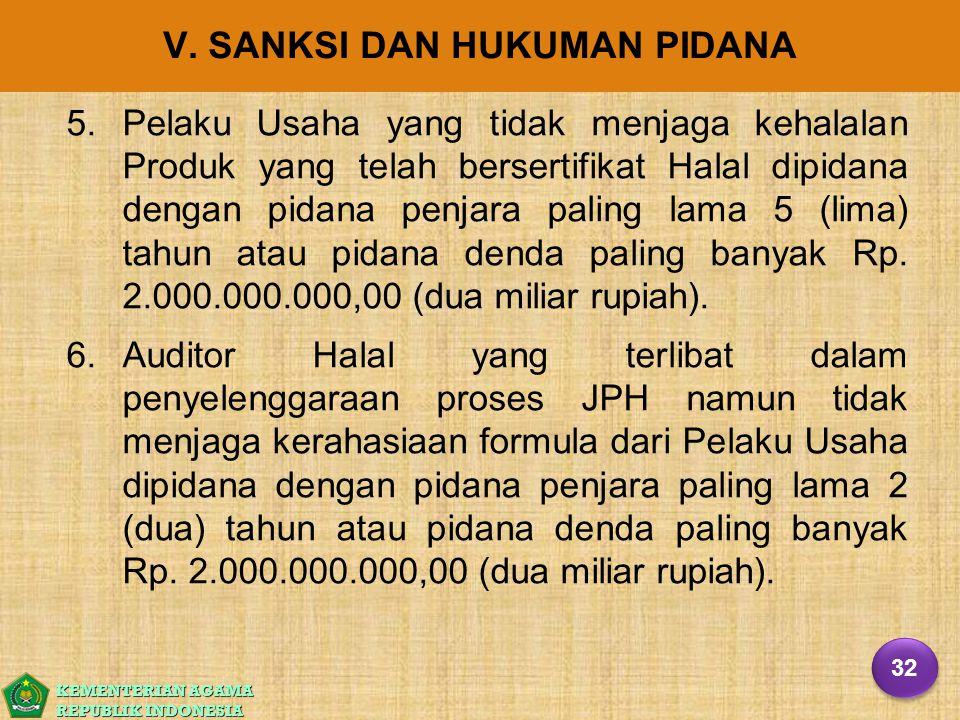 KEMENTERIAN AGAMA REPUBLIK INDONESIA V. SANKSI DAN HUKUMAN PIDANA 5. 5.Pelaku Usaha yang tidak menjaga kehalalan Produk yang telah bersertifikat Halal