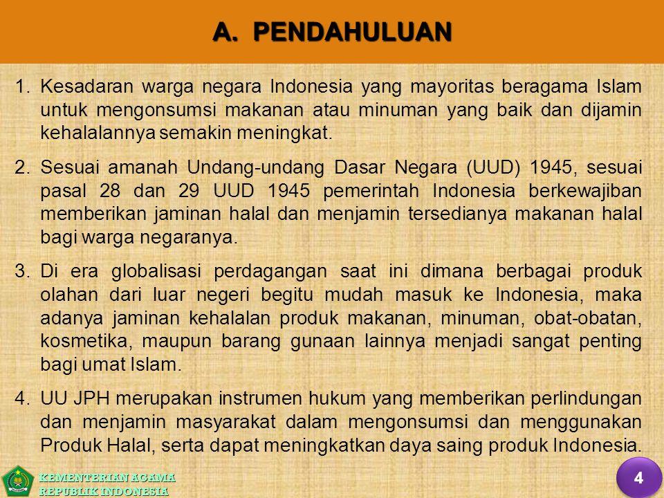 KEMENTERIAN AGAMA REPUBLIK INDONESIA A. PENDAHULUAN 1. 1.Kesadaran warga negara Indonesia yang mayoritas beragama Islam untuk mengonsumsi makanan atau