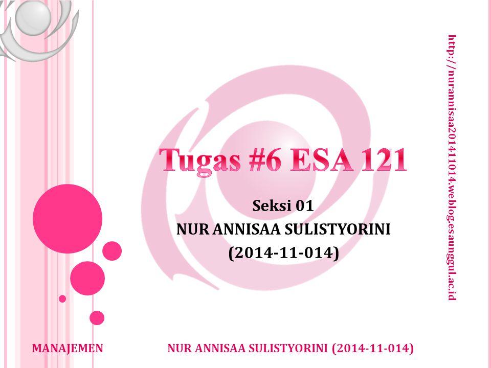 http://nurannisaa201411014.weblog.esaunggul.ac.id NUR ANNISAA SULISTYORINI (2014-11-014)MANAJEMEN Seksi 01 NUR ANNISAA SULISTYORINI (2014-11-014)