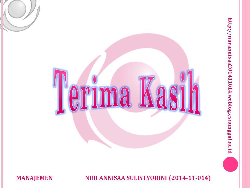 http://nurannisaa201411014.weblog.esaunggul.ac.id NUR ANNISAA SULISTYORINI (2014-11-014)MANAJEMEN