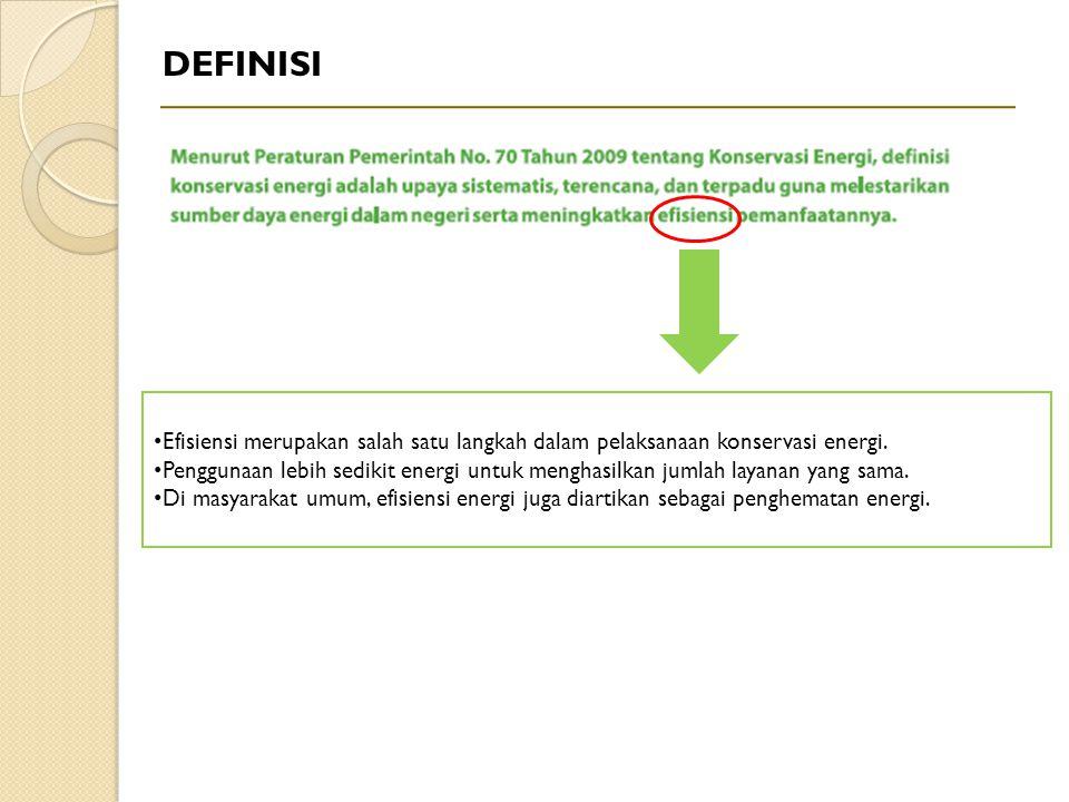 DEFINISI Efisiensi merupakan salah satu langkah dalam pelaksanaan konservasi energi. Penggunaan lebih sedikit energi untuk menghasilkan jumlah layanan
