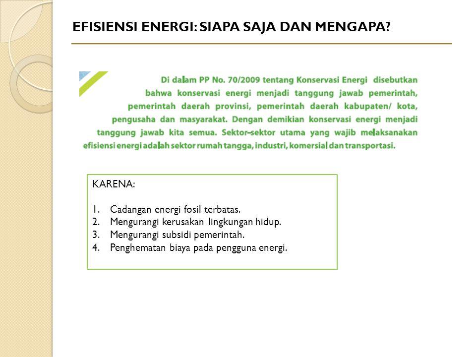 EFISIENSI ENERGI: SIAPA SAJA DAN MENGAPA? KARENA: 1.Cadangan energi fosil terbatas. 2.Mengurangi kerusakan lingkungan hidup. 3.Mengurangi subsidi peme