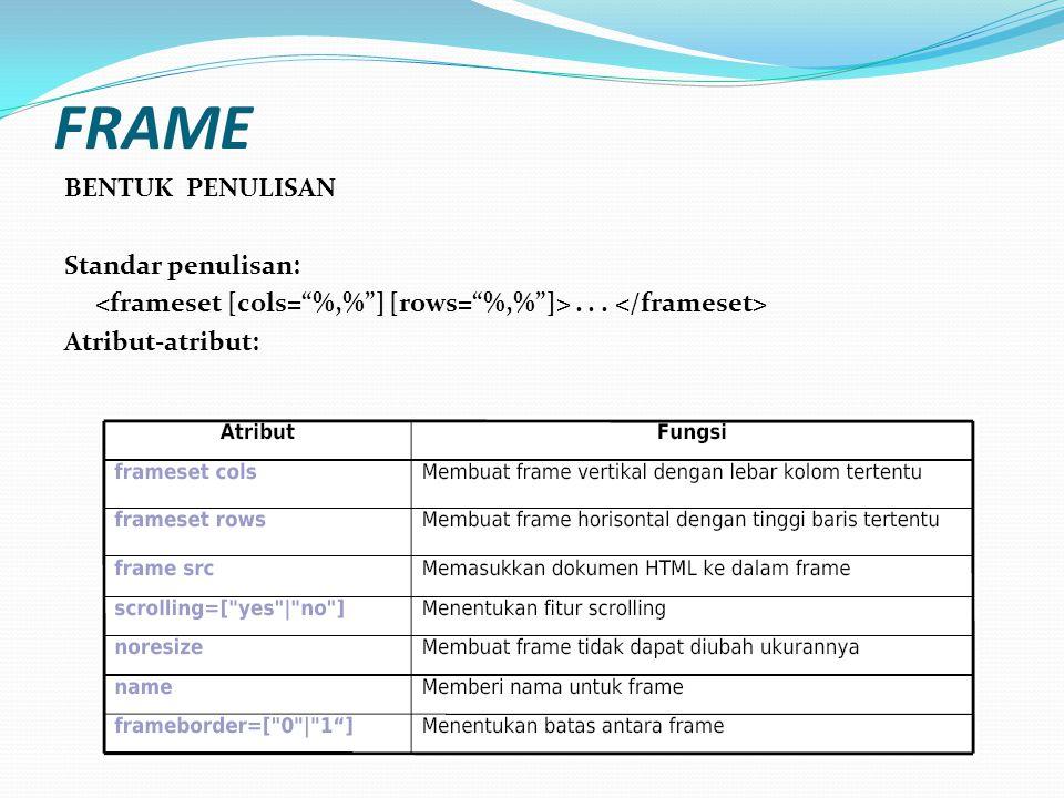 Frame adalah Tag HTML yang berfungsi untuk membagi layar Beberapa perintah itu adalah..