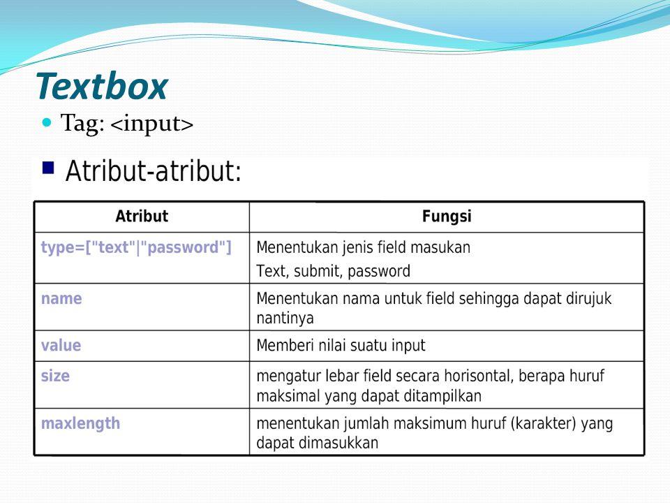 FORM Fungsi: Menerima informasi atau meminta umpan balik dari user dan memproses informasi tersebut di server Standar penulisan:...
