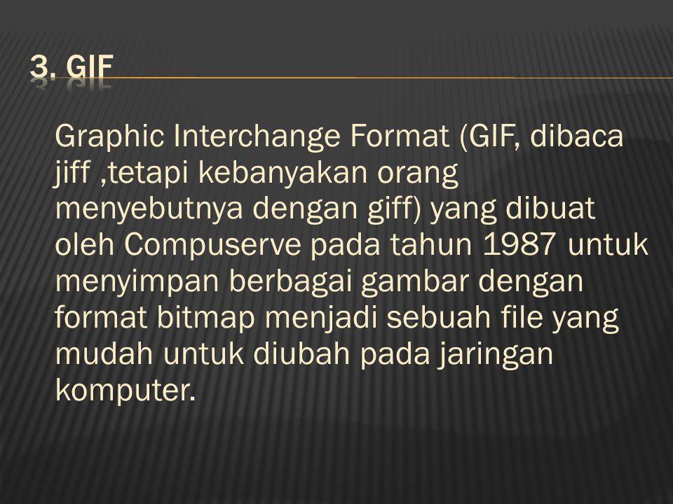 Graphic Interchange Format (GIF, dibaca jiff,tetapi kebanyakan orang menyebutnya dengan giff) yang dibuat oleh Compuserve pada tahun 1987 untuk menyimpan berbagai gambar dengan format bitmap menjadi sebuah file yang mudah untuk diubah pada jaringan komputer.