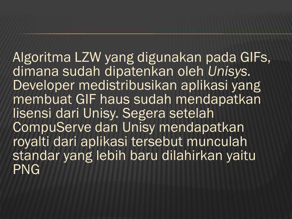 Algoritma LZW yang digunakan pada GIFs, dimana sudah dipatenkan oleh Unisys.