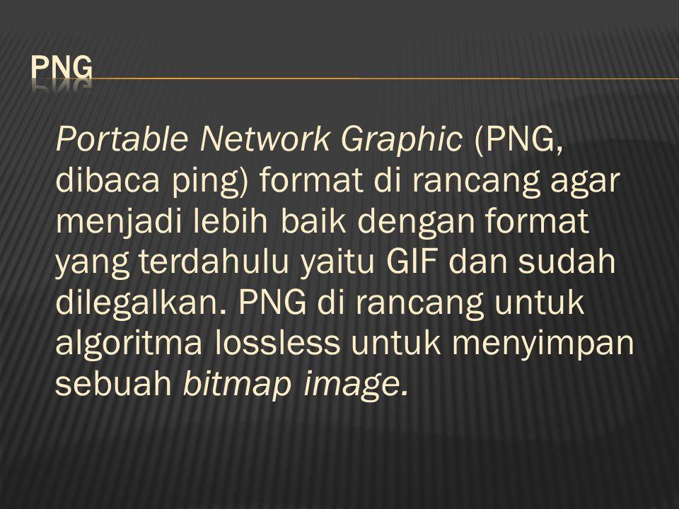 Portable Network Graphic (PNG, dibaca ping) format di rancang agar menjadi lebih baik dengan format yang terdahulu yaitu GIF dan sudah dilegalkan.