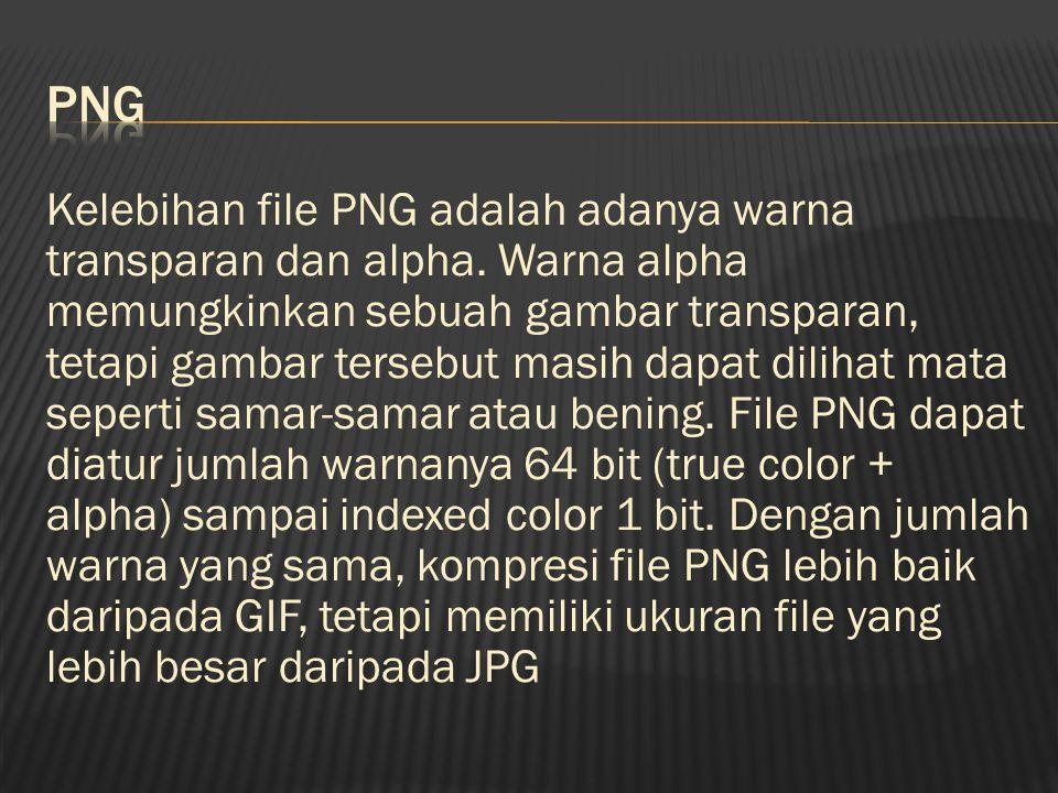 Kelebihan file PNG adalah adanya warna transparan dan alpha.