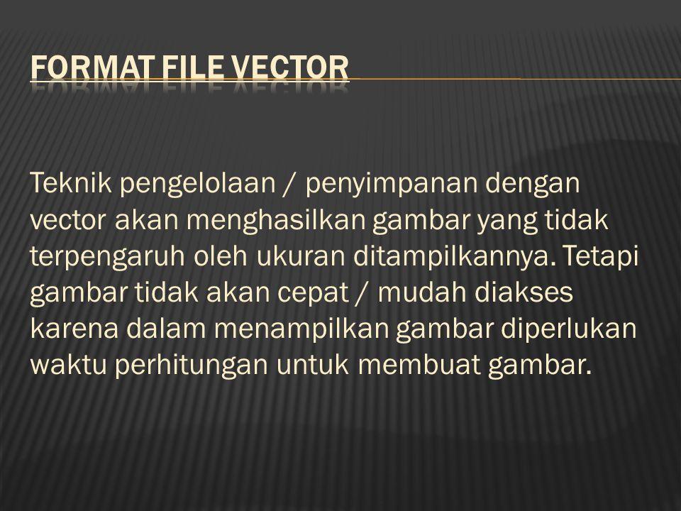 Teknik pengelolaan / penyimpanan dengan vector akan menghasilkan gambar yang tidak terpengaruh oleh ukuran ditampilkannya.