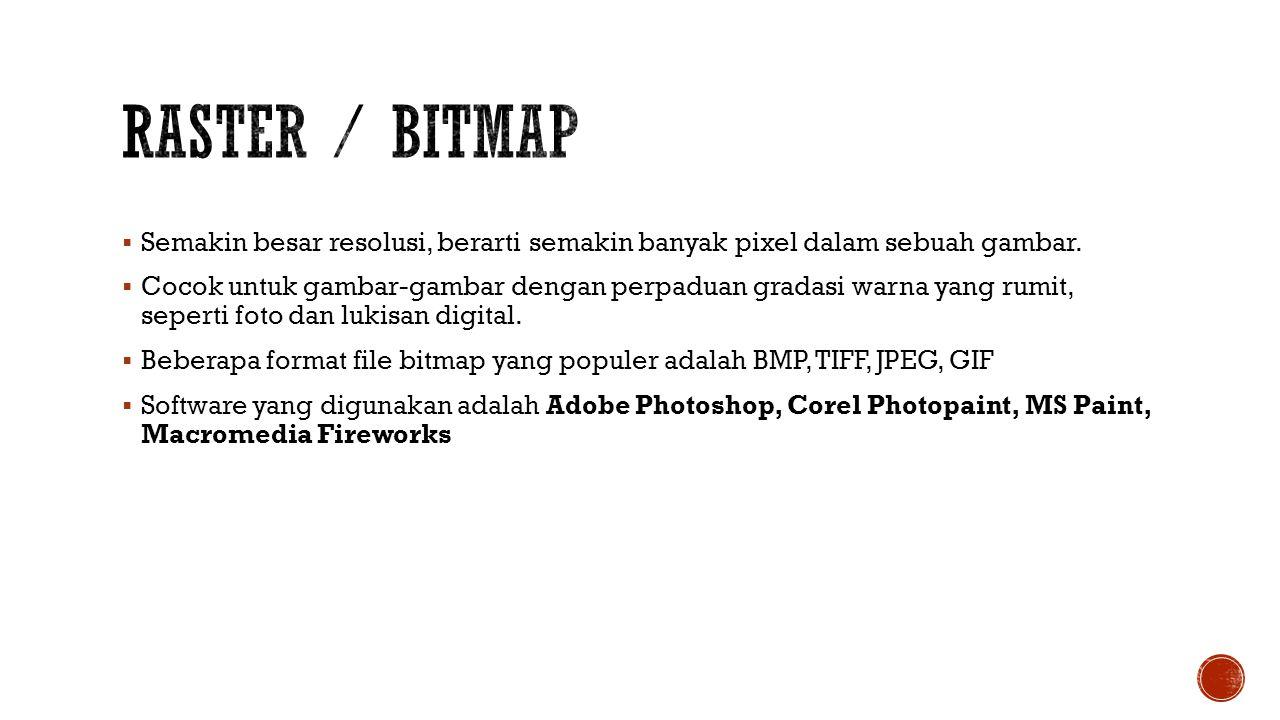 Istilah dalam bitmap:  Resolusi: jumlah titik per satuan luas, yang akan mempengaruhi ketajaman dan detail file bitmap.