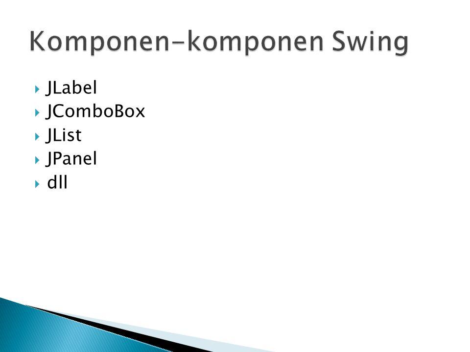  JLabel merupakan komponen yang digunakan untuk menampilkan teks yang pendek.