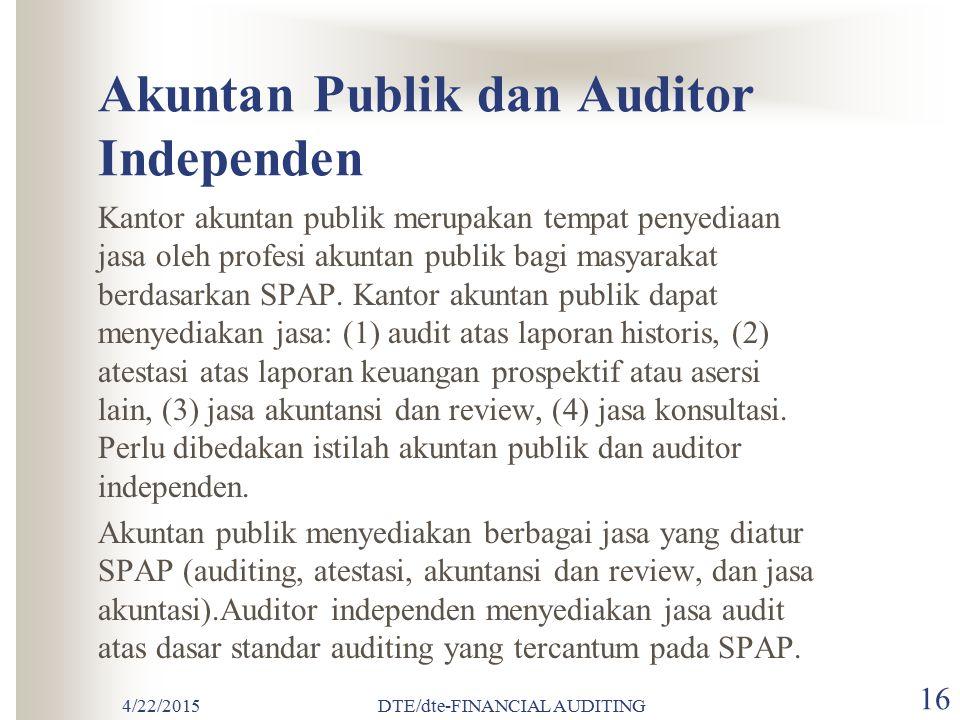 4/22/2015DTE/dte-FINANCIAL AUDITING 15 Kode Etik IAI (Ikatan Akuntan Indonesia) Etika profesional dikeluarkan oleh organisasi untuk mengatur perilaku