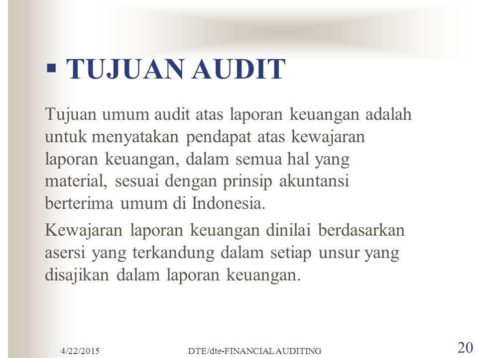4/22/2015DTE/dte-FINANCIAL AUDITING 19 TUJUAN AUDITING Tujuan Audit Asersi Manajemen dalam Laporan Keuangan Asersi Manajemen dan Tujuan Audit