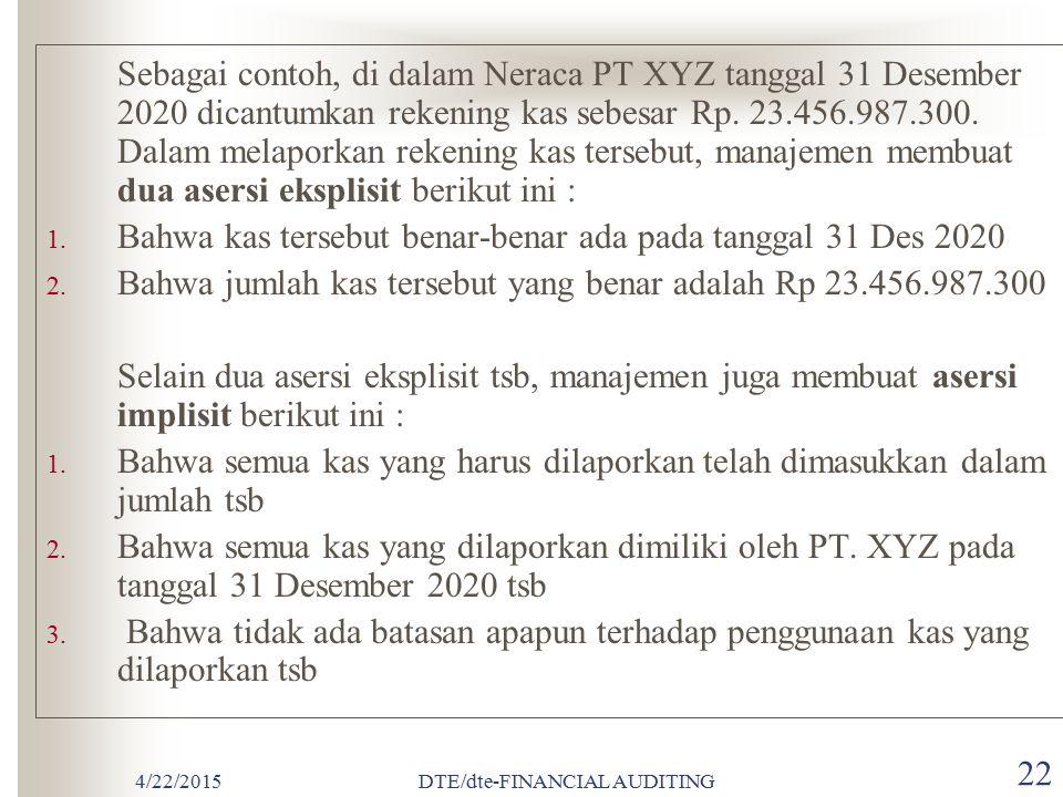 4/22/2015DTE/dte-FINANCIAL AUDITING 21  ASERSI MANAJEMEN DALAM LAPORAN KEUANGAN Asersi (Assertions) adalah pernyataan manajemen yang terkandung di da