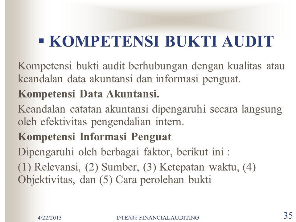 4/22/2015DTE/dte-FINANCIAL AUDITING 34  BUKTI AUDIT Bukti audit adalah segala informasi yang mendukung angka-angka atau informasi lain yang disajikan