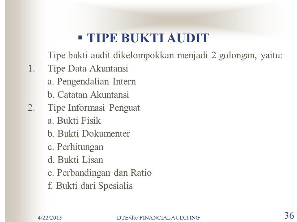 4/22/2015DTE/dte-FINANCIAL AUDITING 35  KOMPETENSI BUKTI AUDIT Kompetensi bukti audit berhubungan dengan kualitas atau keandalan data akuntansi dan i