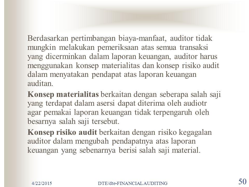 4/22/2015DTE/dte-FINANCIAL AUDITING 49 PENGERTIAN MATERIALITAS Materialitas adalah besarnya nilai yang dihilangkan atau salah saji informasi akuntansi