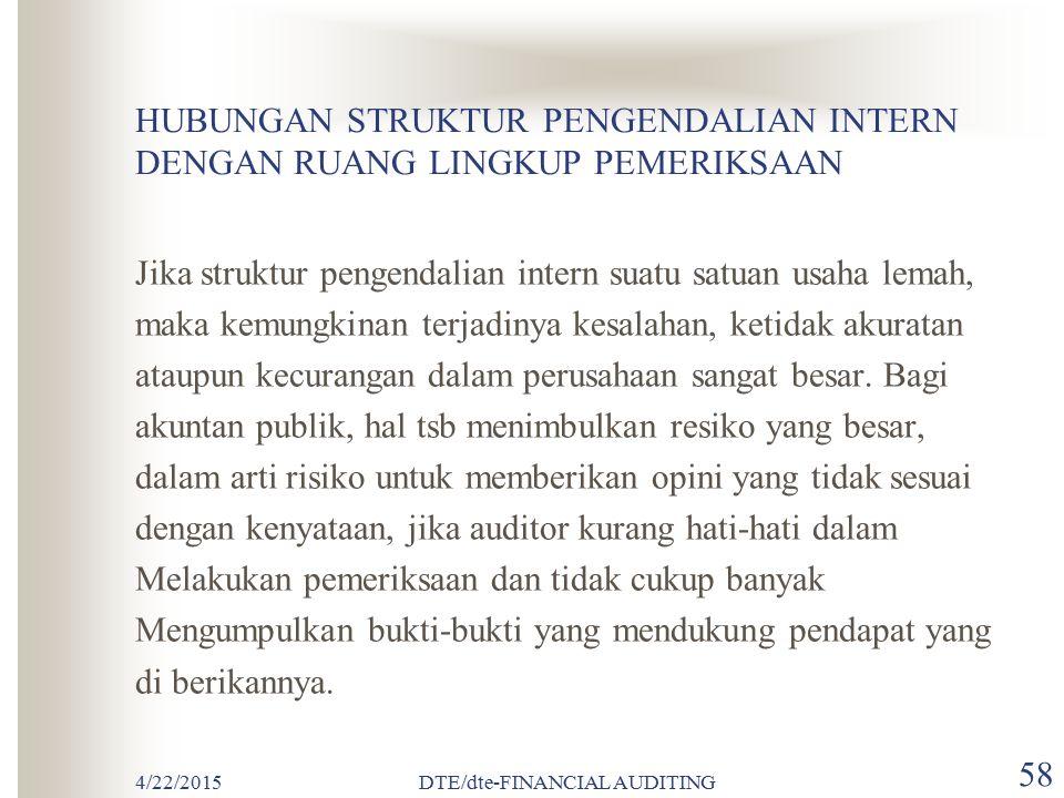 4/22/2015DTE/dte-FINANCIAL AUDITING 57 PENGERTIAN STRUKTUR PENGENDALIAN INTERN Struktur pengendalian intern adalah kebijakan dan prosedur yang di teta