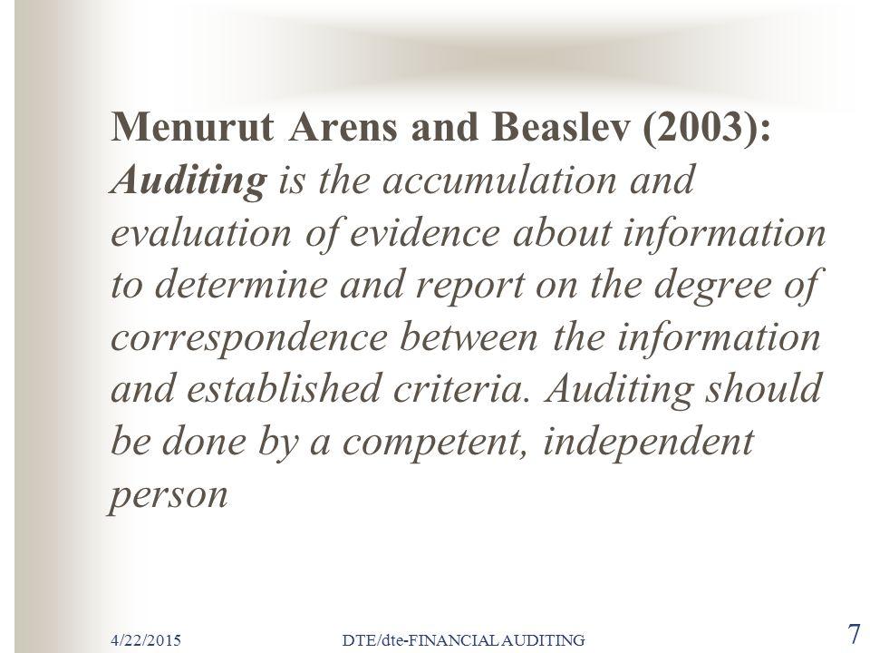 4/22/2015DTE/dte-FINANCIAL AUDITING 37  PROSEDUR AUDIT Prosedur audit yang biasa dilakukan oleh auditor meliputi : (1) Inspeksi (2) Pengamatan (observation) (3) Permintaan keterangan (enquiry) (4) Konfirmasi (5) Penelusuran (tracing) (6) Pemeriksaan bukti pendukung (vouching) (7) Penghitungan (counting) (8) Scanning (9) Pelaksanaan ulang (reperforming) (10) Teknik audit berbantuan komputer (computer-assisted audit techniques)