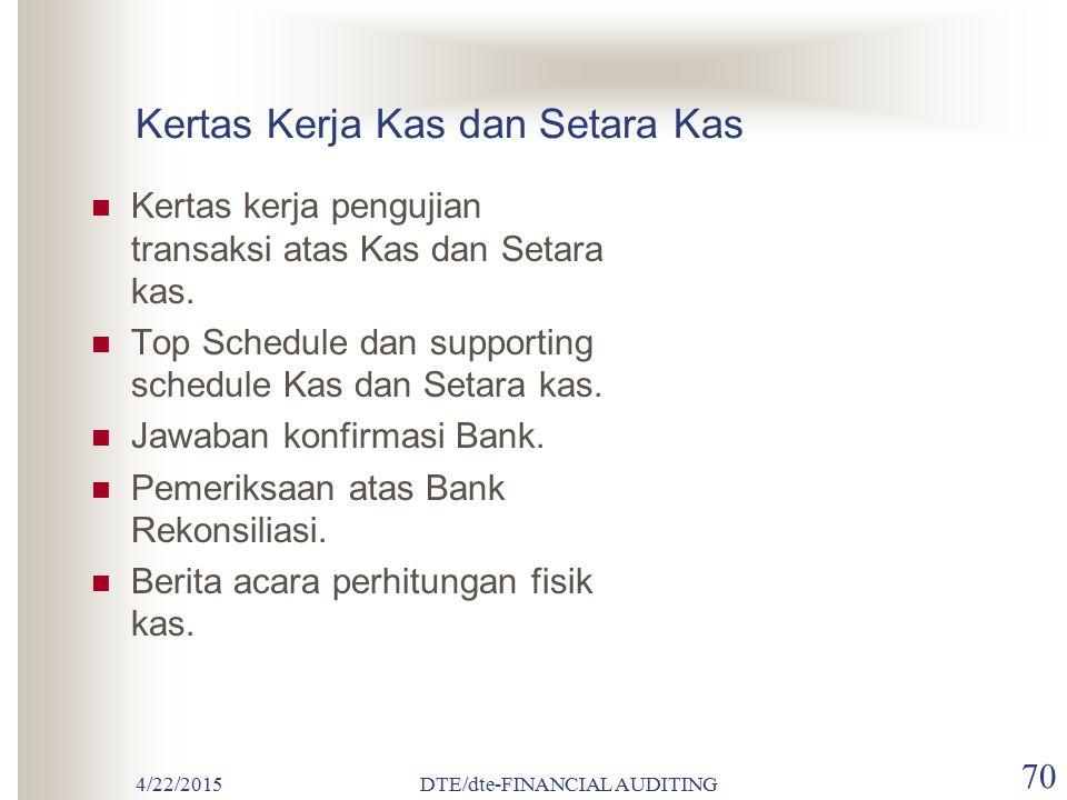 4/22/2015DTE/dte-FINANCIAL AUDITING 69 Yang tidak dapat digolongkan sebagai Kas dan Setara Kas : Deposito berjangka (time deposit) Check mundur dan ch