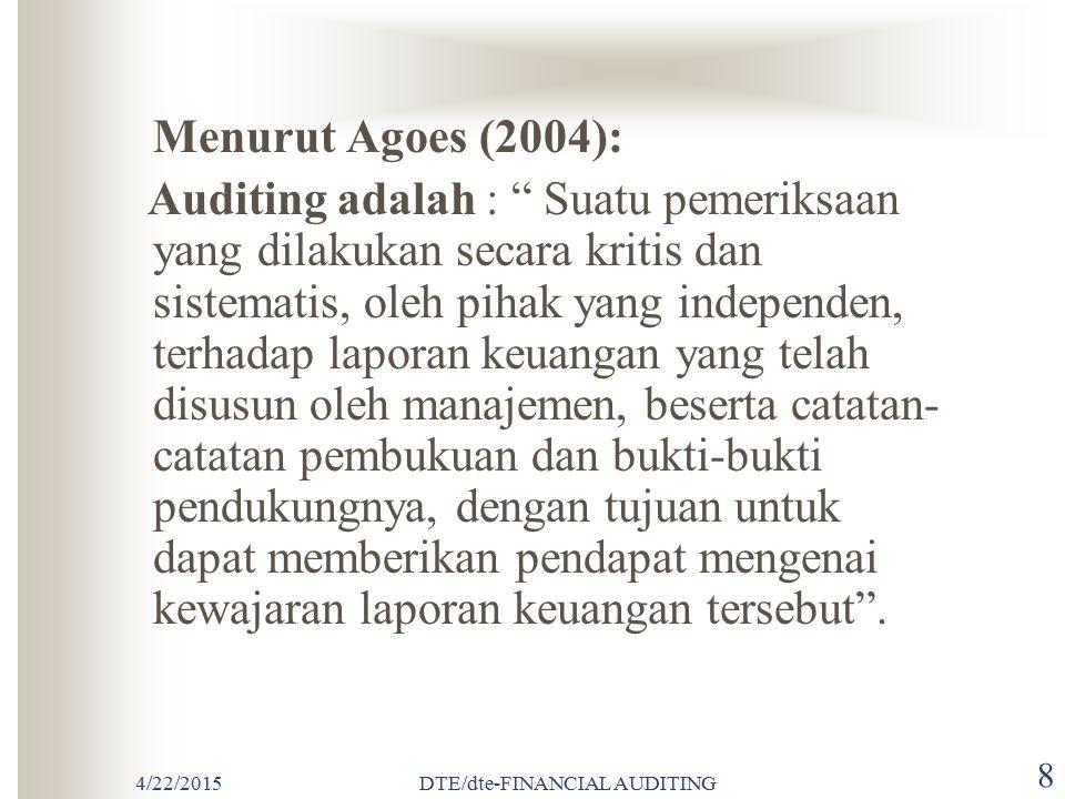 4/22/2015DTE/dte-FINANCIAL AUDITING 18 Rerangka Kode Etik Akuntan Indonesia Kode Etik IAI ada 4 bagian : 1.