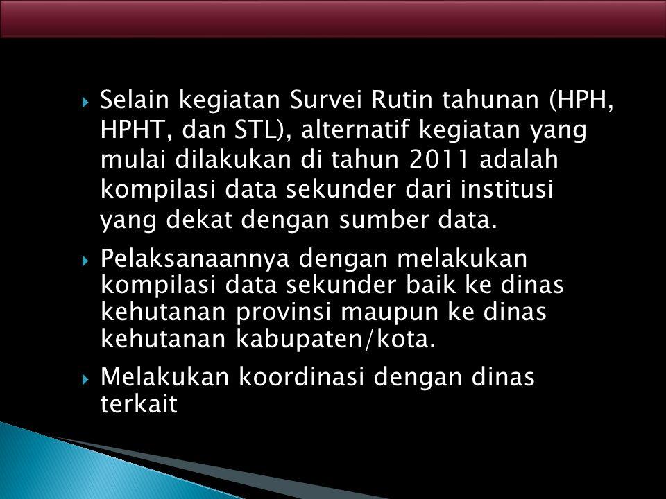  Selain kegiatan Survei Rutin tahunan (HPH, HPHT, dan STL), alternatif kegiatan yang mulai dilakukan di tahun 2011 adalah kompilasi data sekunder dar