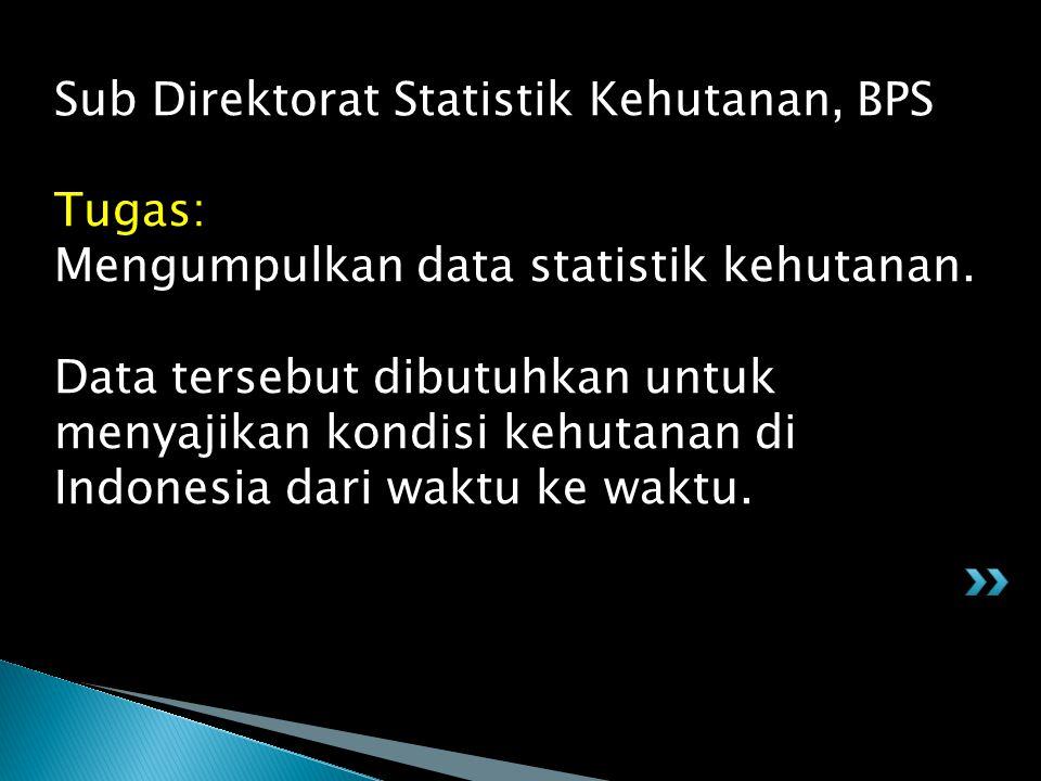 Sub Direktorat Statistik Kehutanan, BPS Tugas: Mengumpulkan data statistik kehutanan. Data tersebut dibutuhkan untuk menyajikan kondisi kehutanan di I