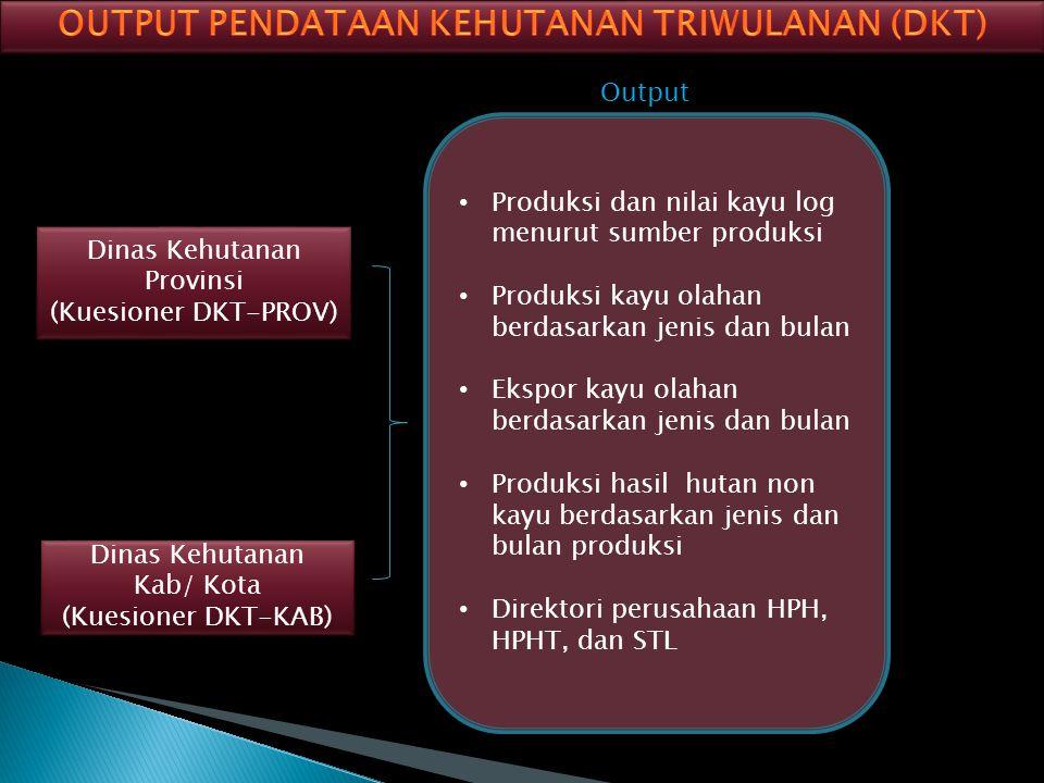 Output Dinas Kehutanan Provinsi (Kuesioner DKT-PROV) Dinas Kehutanan Provinsi (Kuesioner DKT-PROV) Dinas Kehutanan Kab/ Kota (Kuesioner DKT-KAB) Dinas