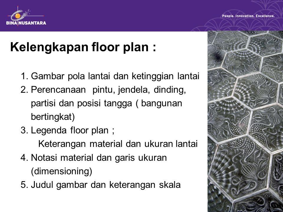 Kelengkapan floor plan : 1. Gambar pola lantai dan ketinggian lantai 2. Perencanaan pintu, jendela, dinding, partisi dan posisi tangga ( bangunan bert
