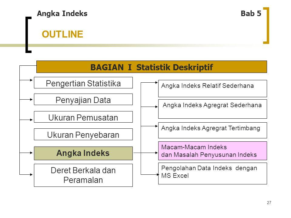 27 OUTLINE Angka IndeksBab 5 BAGIAN I Statistik Deskriptif Pengertian Statistika Penyajian Data Ukuran Penyebaran Ukuran Pemusatan Angka Indeks Deret
