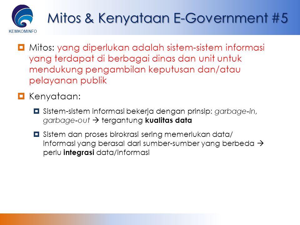 KEMKOMINFO Mitos & Kenyataan E-Government #5  Mitos: yang diperlukan adalah sistem-sistem informasi yang terdapat di berbagai dinas dan unit untuk me
