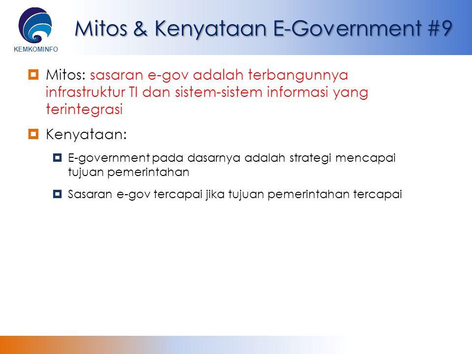 KEMKOMINFO Mitos & Kenyataan E-Government #9  Mitos: sasaran e-gov adalah terbangunnya infrastruktur TI dan sistem-sistem informasi yang terintegrasi