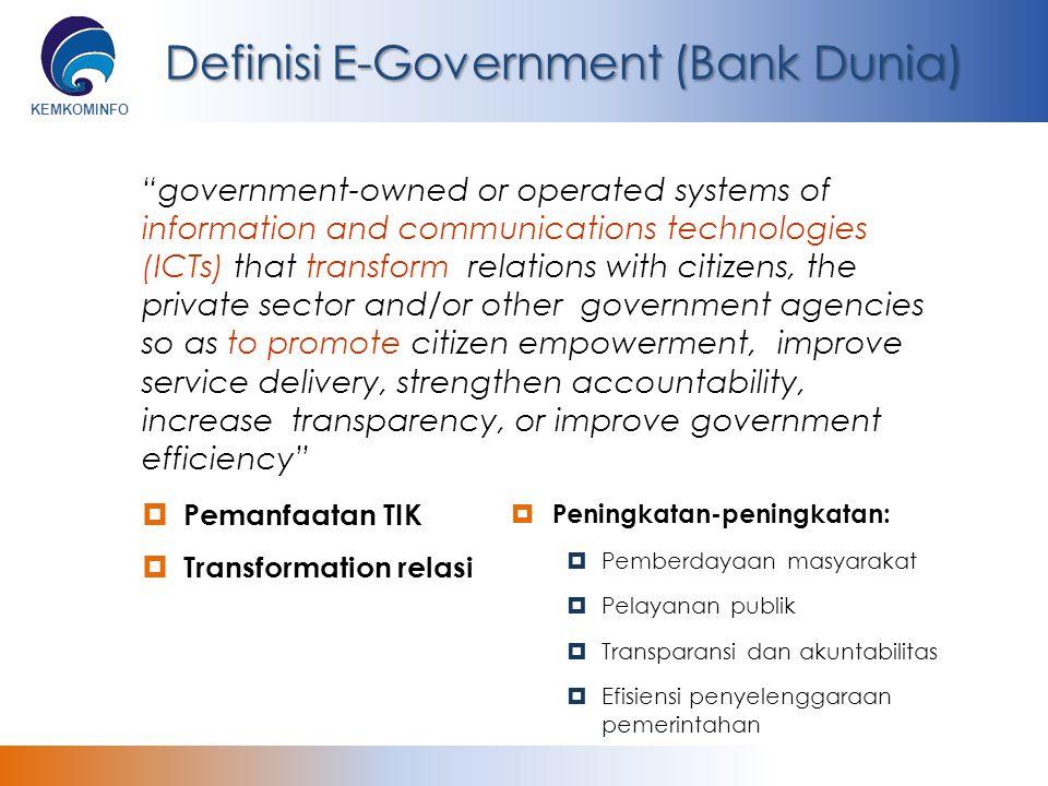 KEMKOMINFO Definisi E-Government (Bank Dunia)  Pemanfaatan TIK  Transformation relasi  Peningkatan-peningkatan:  Pemberdayaan masyarakat  Pelayan