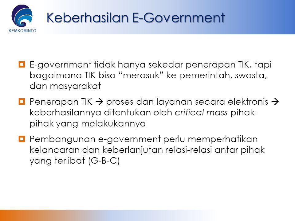 """KEMKOMINFO Keberhasilan E-Government  E-government tidak hanya sekedar penerapan TIK, tapi bagaimana TIK bisa """"merasuk"""" ke pemerintah, swasta, dan ma"""