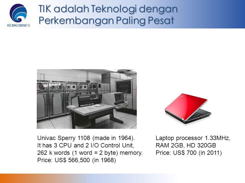 KEMKOMINFO TIK adalah Teknologi dengan Perkembangan Paling Pesat Univac Sperry 1108 (made in 1964). It has 3 CPU and 2 I/O Control Unit, 262 k words (