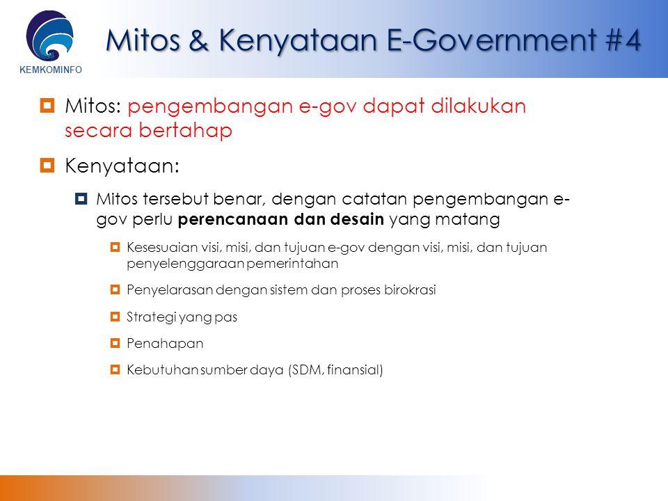 KEMKOMINFO Mitos & Kenyataan E-Government #4  Mitos: pengembangan e-gov dapat dilakukan secara bertahap  Kenyataan:  Mitos tersebut benar, dengan c