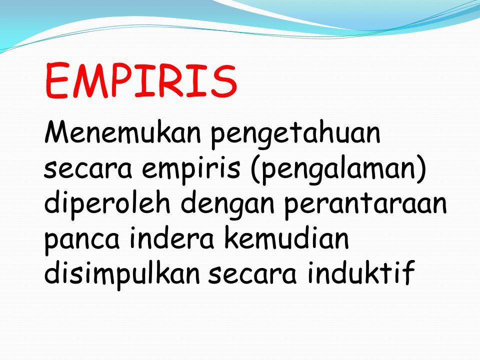 EMPIRIS Menemukan pengetahuan secara empiris (pengalaman) diperoleh dengan perantaraan panca indera kemudian disimpulkan secara induktif