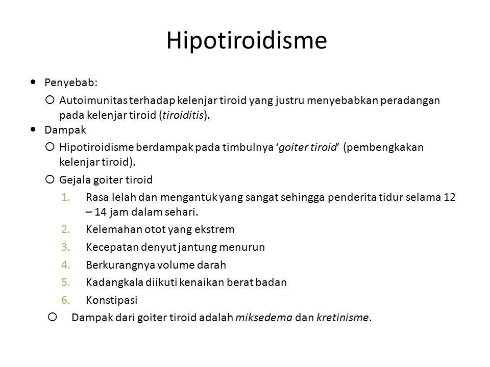 Hipotiroidisme Penyebab:  Autoimunitas terhadap kelenjar tiroid yang justru menyebabkan peradangan pada kelenjar tiroid (tiroiditis). Dampak  Hipoti