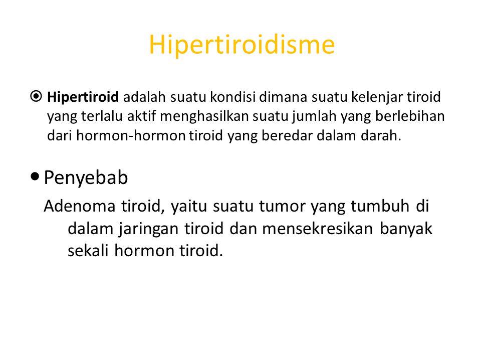 Hipertiroidisme  Hipertiroid adalah suatu kondisi dimana suatu kelenjar tiroid yang terlalu aktif menghasilkan suatu jumlah yang berlebihan dari horm