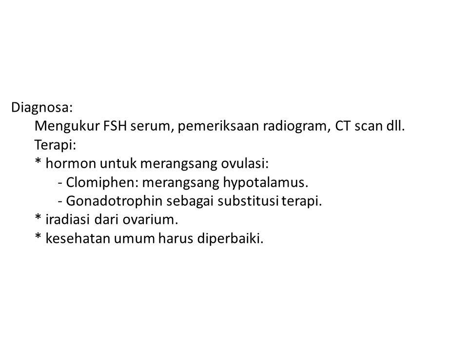 Diagnosa: Mengukur FSH serum, pemeriksaan radiogram, CT scan dll. Terapi: * hormon untuk merangsang ovulasi: - Clomiphen: merangsang hypotalamus. - Go
