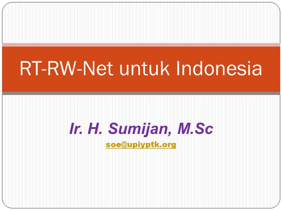 Ir. H. Sumijan, M.Sc soe@upiyptk.org RT-RW-Net untuk Indonesia