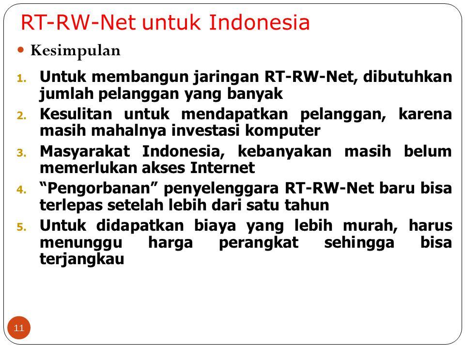 RT-RW-Net untuk Indonesia 11 Kesimpulan 1. Untuk membangun jaringan RT-RW-Net, dibutuhkan jumlah pelanggan yang banyak 2. Kesulitan untuk mendapatkan