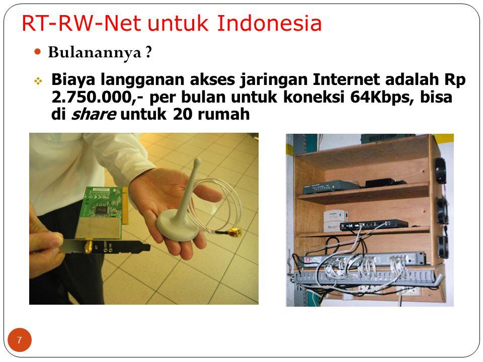 RT-RW-Net untuk Indonesia 7 Bulanannya ?  Biaya langganan akses jaringan Internet adalah Rp 2.750.000,- per bulan untuk koneksi 64Kbps, bisa di share